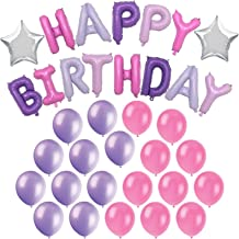 Happy Birthday Foil Balloons - silver Star balloons - 20 Pink and Purple Latex Balloons - Girls Birthday Party Decorations Kit