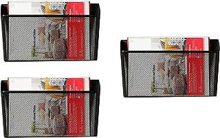 DESIGNA Binder Holder Wall Mount, Mesh Bin Office Wall Folder File Letter Magazine Hanging Organizer Black - 3 Packs