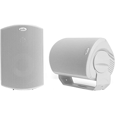 Polk Audio Atrium 6 Outdoor All-Weather Speakers with Bass Reflex Enclosure (Pair, White) | Broad Sound Coverage | Speed-Lock Mounting System