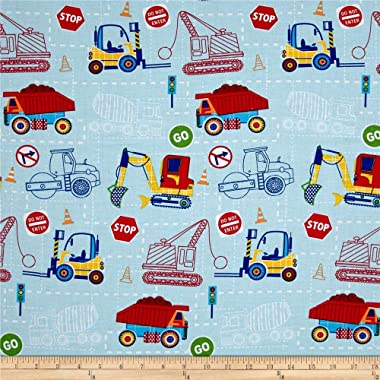 Santee Print Works Kid's Choice Construction Blue Quilt Fabric by the Yard, Blue