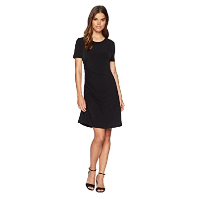 CATHERINE Catherine Malandrino Nan Short Sleeve Side Ruched Tee Dress (Black) Women