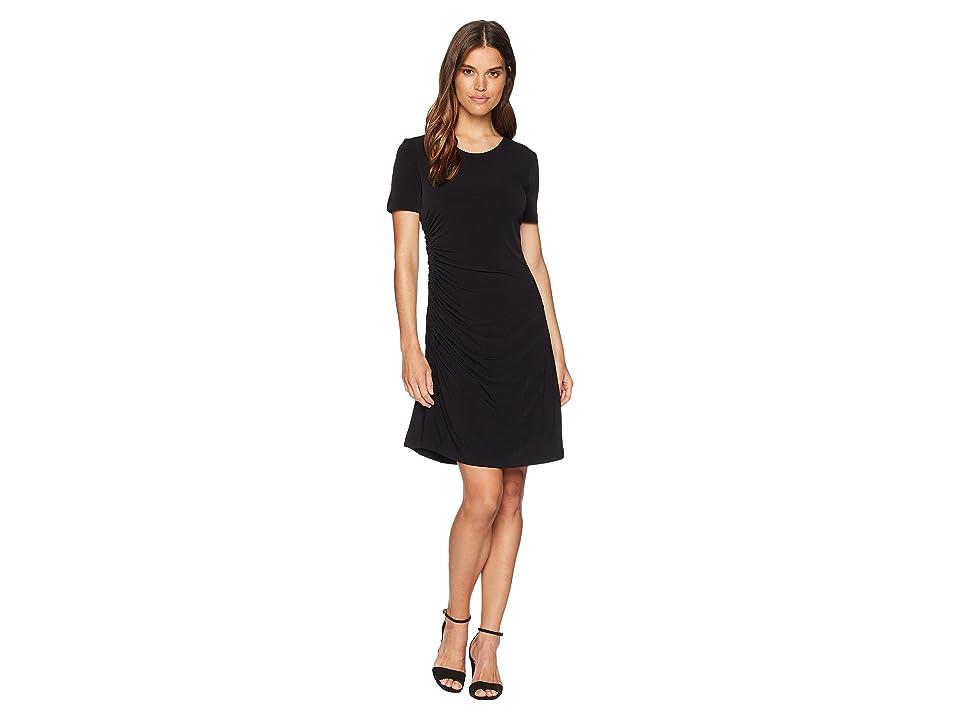 CATHERINE Catherine Malandrino Nan Short Sleeve Side Ruched Tee Dress (Black) Women