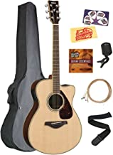 Yamaha FSX830C Solid Top Small Body Acoustic-Electric Guitar - Natural Bundle with Gig Bag, Tuner, Strings, Strap, Picks, ...
