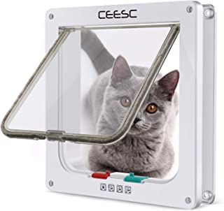 CEESC Cat Flap Door Magnetic Pet Door with 4 Way Lock for Cats, Kitties and Kittens, 3 Sizes and 2 Colors Options