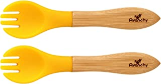 Avanchy Baby Toddler Bamboo Training Forks. Fda Approved, Bpa Free Silicone. A Great Baby Gift Set! 2 Pack (Yellow)