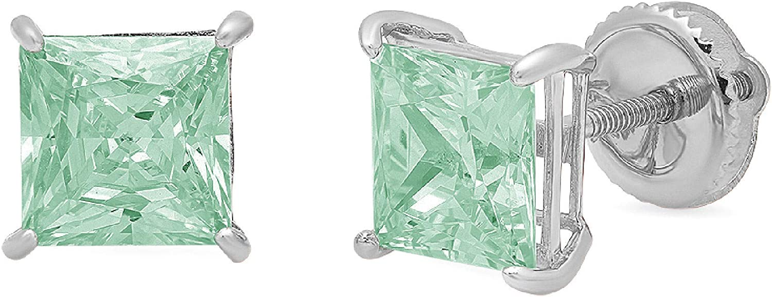 Clara Pucci 3.0 ct Brilliant Princess Cut Solitaire VVS1 Flawless Green Simulated Diamond Gemstone Pair of Stud Earrings Solid 18K White Gold Screw Back