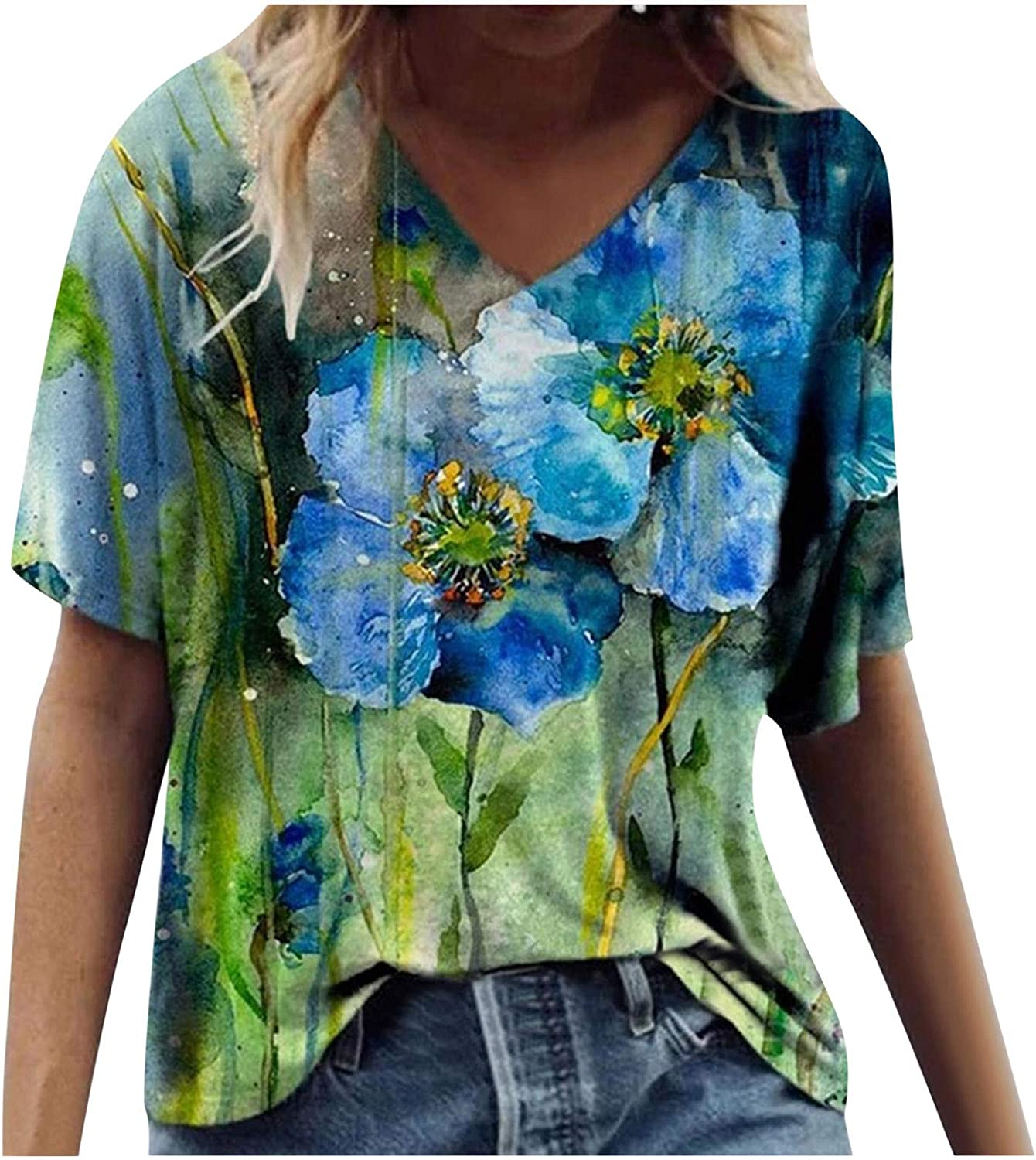 Short Sleeve T-Shirts for Women, Women's Casual Summer Graphic Tees Vintage Flower Print Soft Tunic Shirts Blouse Top