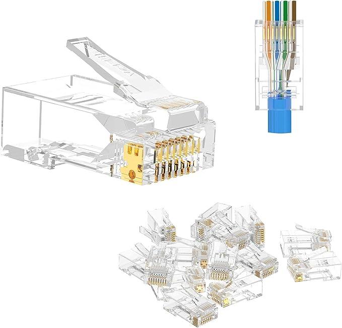 1533 opinioni per VCE 50 Pezzi Connettori Ethernet RJ45 Passante Cat6 Lan Plug RJ45 Cat6