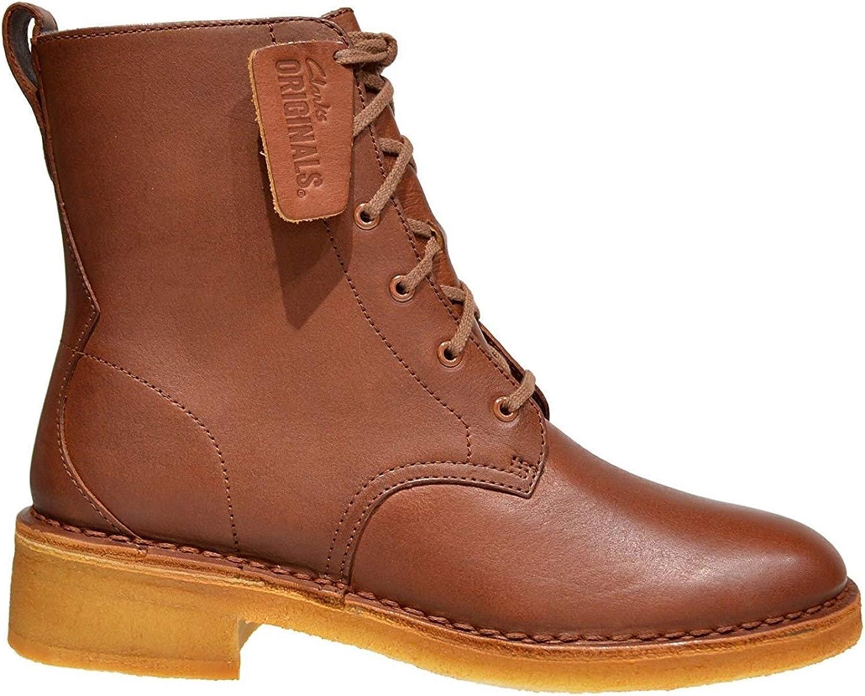 Clarks Originals Maru Mali Woman's Leather Combat Boots Tan US 5.5 M