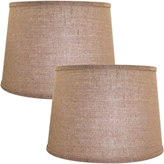 Double Medium Brwon Lamp Shades Set of 2, Alucset Drum Fabric Lampshades for Table Lamp and Floor Light,10x12x8 inch,Natural Linen Hand Crafted,Spider, 2pcs Pack (Brown)