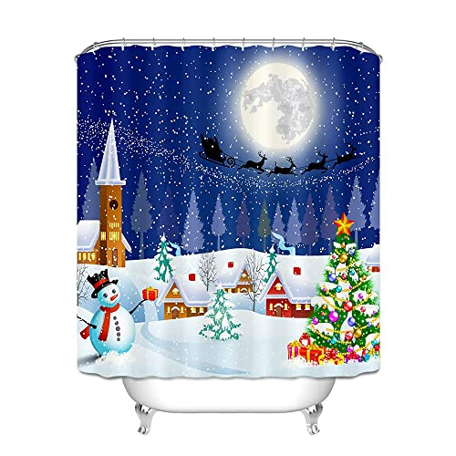 Htovila 72 Inches Merry Christmas Polyester Waterproof Bathroom Curtain Anti Corrosion Decorative Privacy
