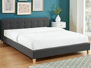 HOMIFAB Lit Adulte avec tête de lit capitonnée en Tissu Gris foncé - sommier à Lattes 160x200cm - Collection Milo