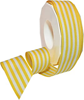 Morex Ribbon Polyester Grosgrain Striped Decorative Ribbon, 20 Yard, Yellow, 1-1/2 in