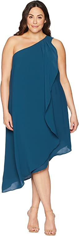 Plus Size One Shoulder Draped Gauzy Crepe Dress