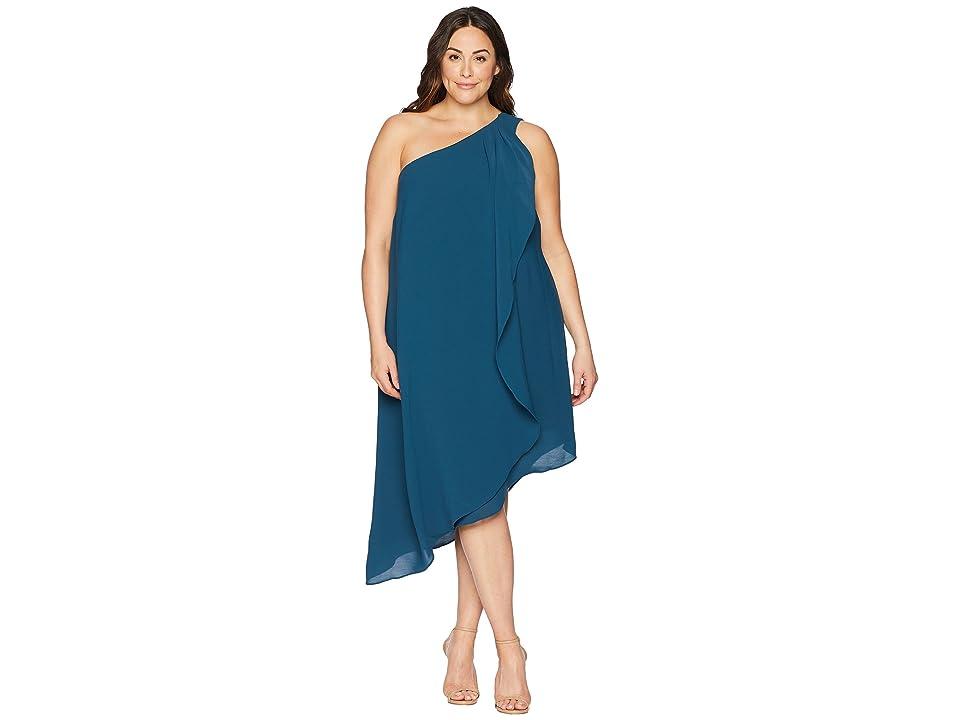 Adrianna Papell Plus Size One Shoulder Draped Gauzy Crepe Dress (Midnight Jungle) Women