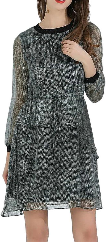 Blyent Women's Crewneck Elastic Waist Ruffled Irregular Pleated Vintage Dress