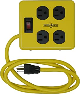 Yellow Jacket 2177N Metal Power Block with 4 Outlets and Lighted Switch, 4-foot Cord