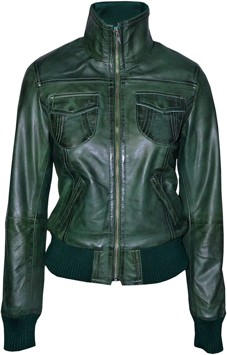 'FUSION' Ladies GREEN WASHED Short Bomber Biker Motorcycle Style Leather Jacket
