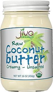Jiva Organics RAW Organic Coconut Butter 16 Ounce Jar - Creamy, Unsalted