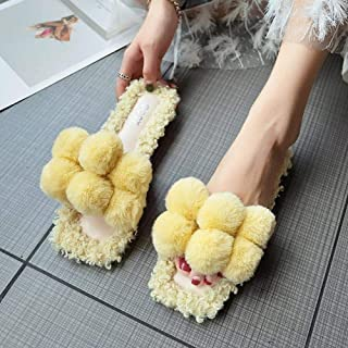 Fleece Slippers Female Autumn and Winter New Korean Version of The Cute Hair Ball Flat Open Toe Wear Female Slippers Zhaozb (Color : Yellow, Size : 4)