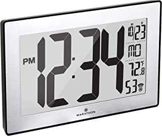 Marathon Slim Panoramic Atomic Full Calendar Wall Clock with 8 Time Zones, Indoor Temperature, and Stand - Batteries Included - CL030068BK-SS (Black Case/Stainless Finish)