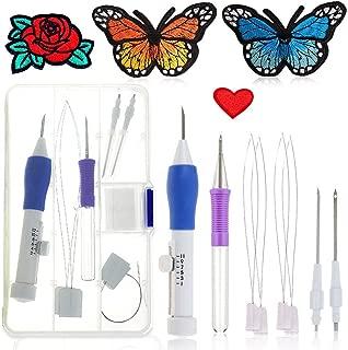 Juego de agujas de punzón para bolígrafo de bordado mágico, juego de punzón de bordado AOLVO, herramienta de manualidades con caja de plástico para bricolaje hiladores de costura
