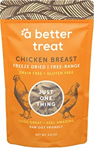 A BETTER TREAT – Freeze Dried Chicken Breast Dog Treats, Free Range, Single Ingredient | Natural Healthy High Value | Gluten Free, Grain Free, High Protein, Diabetic Friendly | Made in The USA