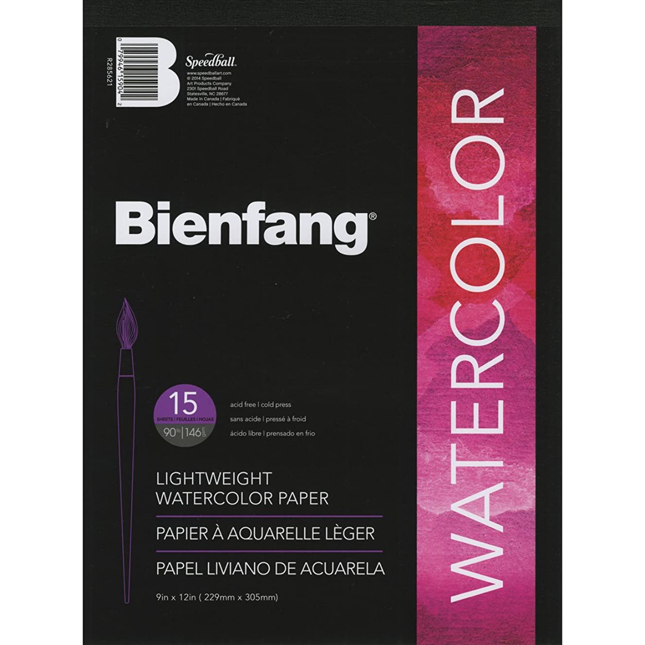 Bienfang Lightweight Watercolor Paper Pad 9-Inch by 12-Inch, 15 Sheets