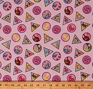 Cotton Girl Scout Badges Girl Scouts GSUSA Scouting Skills Achievements Awards Merit Badges on Pink Cotton Fabric Print by The Yard (C6771-PINK)