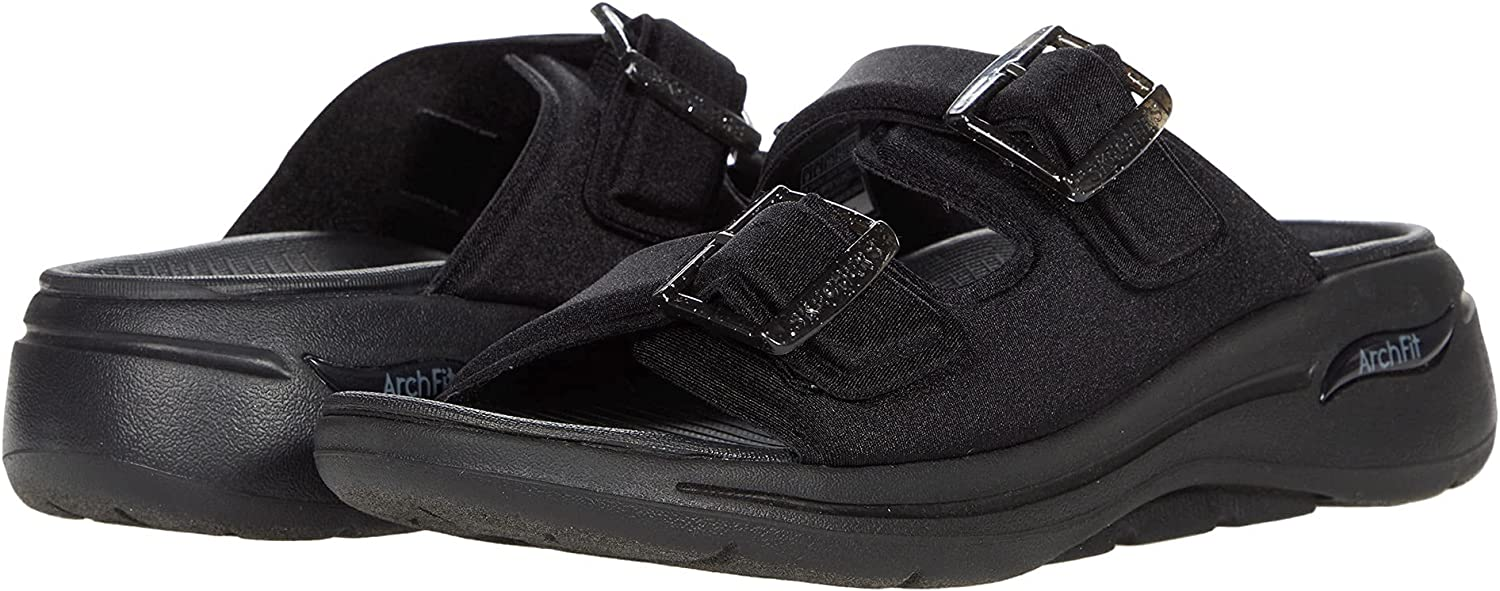 Skechers womens Super special price New Orleans Mall Go Walk Arch Fit Double Slide Buckle Band