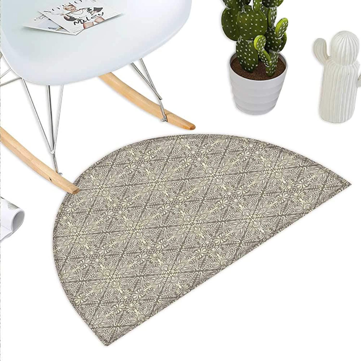 Vintage Semicircle Doormat Hand Drawn Style Arabesque Floral Ornament Byzantine Damask Style Curly Leaves Halfmoon doormats H 43.3  xD 64.9  Taupe and Beige