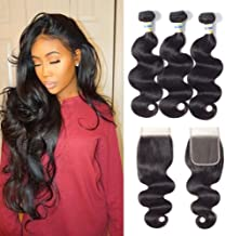 Brazilian Body Wave 3 Bundles with Lace Closure (4 ×4) Free Part 100% Unprocessed Virgin Human Hair Extensions Natural Color (8 10 12 +8, body wave with closure)