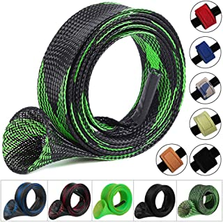 Koogel 6Set Fishing Rod Sleeve Rod Sock Rod Sleeve with 6pcs Rod Straps Belts Ties Fishing Gear Tools Accessories for Spinning Casting Sea for Flat or Pointed End/Spinning or Casting Rods