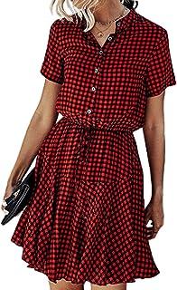 Dylanlla Casual Dresses for Women,Plus Size Plaid Short Sleeve Mini Dress Loose O-Neck Button Shirt Dress Short Dress