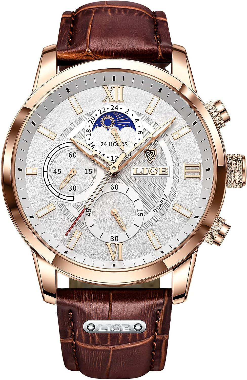 FEELNEVER Reloj de Pulsera para Hombre, Resistente al Agua, analógico, de Cuarzo, con Fase Lunar, cronógrafo, Correa de Piel marrón, Moda Informal