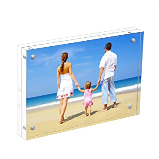 NIUBEE Acrylic Photo Frame 3.5x5 Gift Box Package, Wallet Size Double Sided Magnetic Block Picture Frames, Frameless Desktop Postcard Display