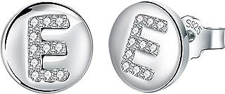 J.Endéar Pendientes Mujer Forma de Inicial A ~ Z, Plata de Ley 925 Con Zirconia Cúbico Alfabeto Pequeño Disco Redondo Para...