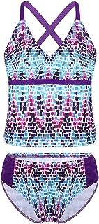 iixpin Tankini para Niñas Traje de Baño de Dos Piezas Estampado Flores Top + Braguita Atractivo Ropa de Playa Bañador de N...