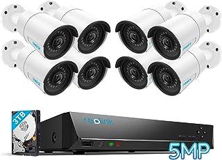 Reolink 16CH 5MP PoE Kit de Cámara de Vigilancia IP, con 8X 5MP Cámara de Seguridad PoE Impermeable y 3TB Disco Duro NVR S...