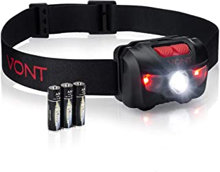 Vont LED Headlamp, Super Bright LEDs, Compact Build, 5 Modes, Headlight with White-Red..