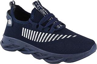 Birde Men Blue Zig-Zag Mesh Sports Running Shoes