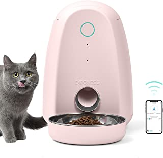 DOGNESS Smart 2L Feed Automatic Dog and Cat Feeder, Wi-Fi Enabled Pet Feeder, Smartphone App for iPhone and Android (Pink)