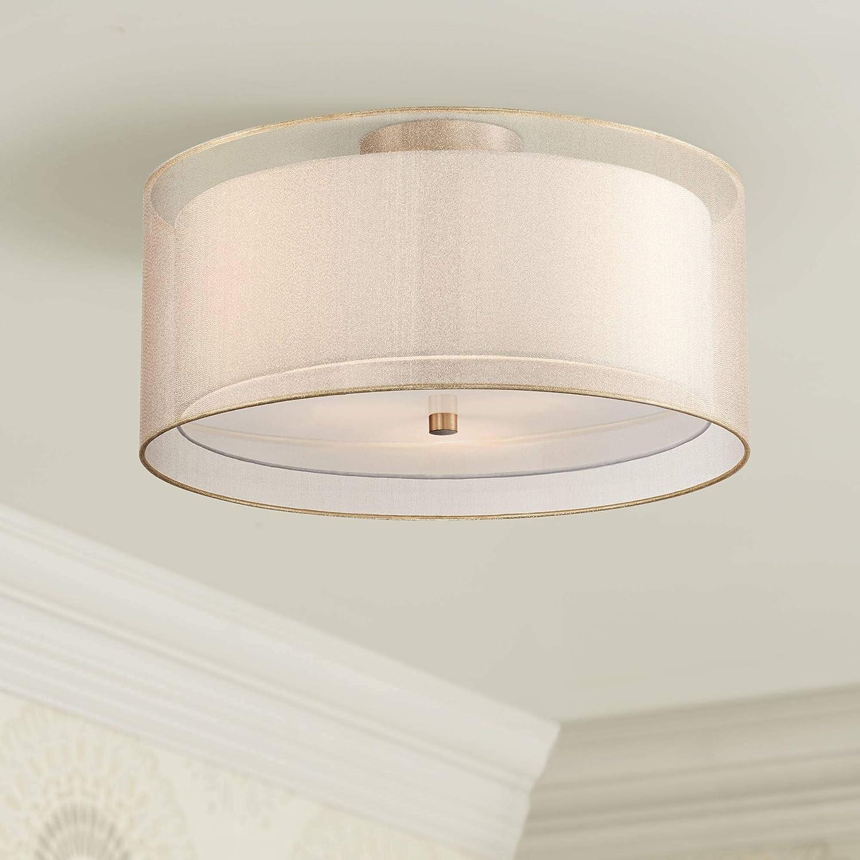 Double Drum Modern Ceiling Super special Max 76% OFF price Light Bra Flush Mount Fixture Antique