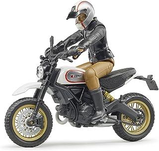 bruder 63051 Moto Avec Motard Fahrzeug Scrambler Ducati Desert Sled mit Fahrer, Schwarz