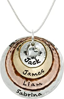 My Four Treasures Personalized Necklace with 4 Customizable Discs in Sterling Silver, 14k Gold Plate and Rose Gold Plate with a 925 Heart Charm