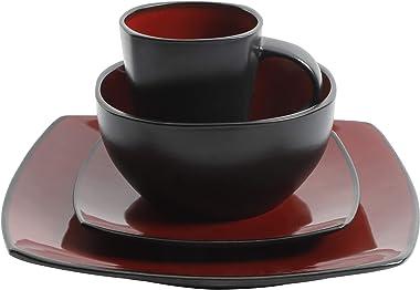Gibson Soho Lounge 16-Piece Square Reactive Glaze Dinnerware Set, Red