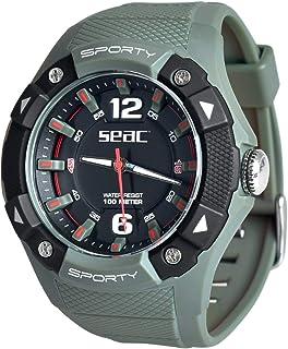 SEAC Sporty, Orologio Lifestyle all'Acqua 100 mt, Resistente Cinturino in Gomma Unisex Adulto