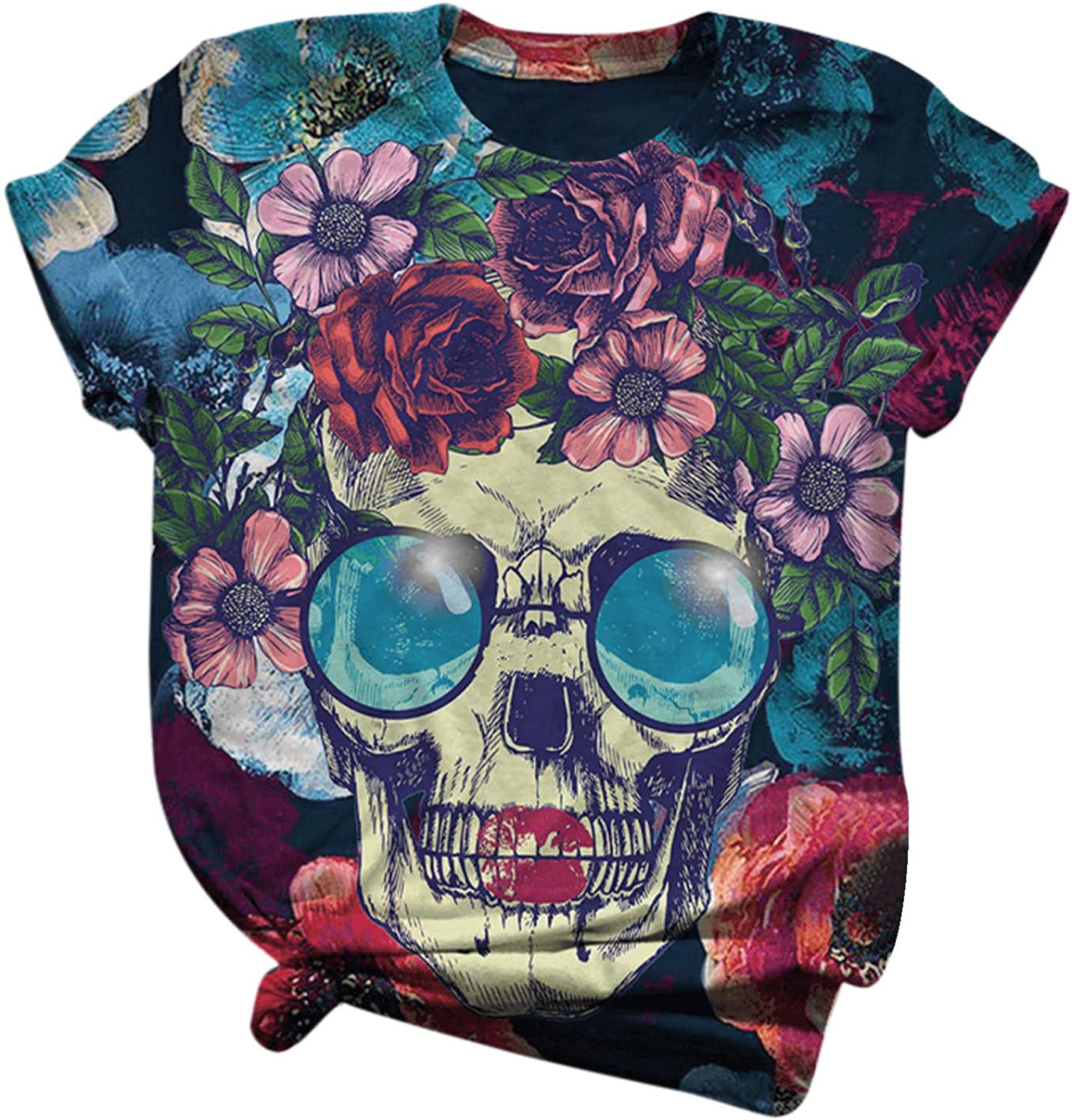 Women's Hipster Tees Casual Short Sleeve 3D Skull Printed T Shirts Vintage Floral Graphic T-Shirt for Women