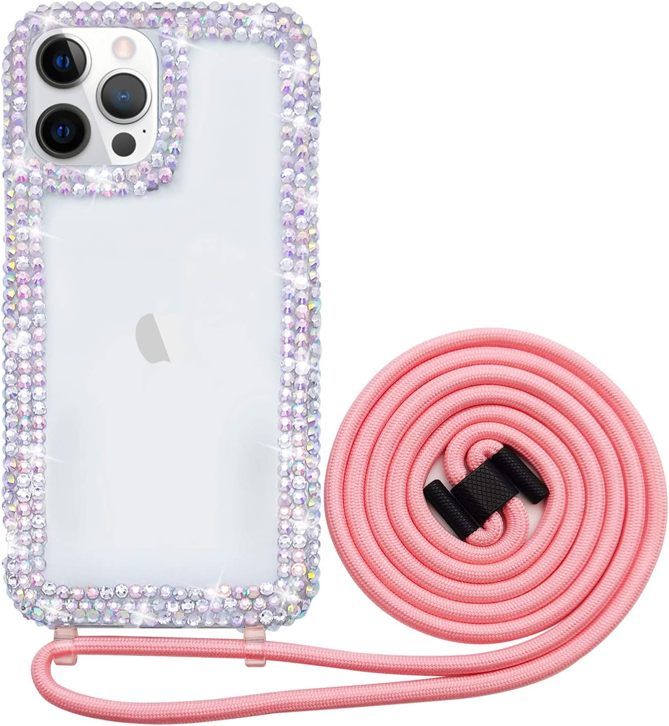 Bonitec Compatible with iPhone 12 Pro Crossbody Case 3D Glitter Sparkle Bling Luxury Shiny Crystal Rhinestone Diamond Clear Protective Girly Cover Adjustable Neck Strap Lanyard Band for Women
