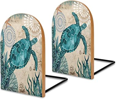 Book Ends,Bookends for Shelves,Sea Turtle,Blue Ocean Creature Landscape Metal Base Bookends to Hold Books Heavy Duty Wood Boo